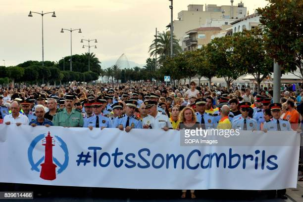 Head of the march where police officers from several departments conducted demonstration for victims of the terrorist attacks in Barcelona and...