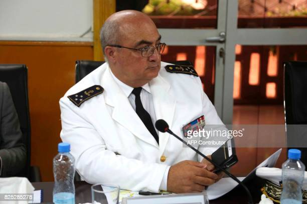 Head of the Minister of Defence's military cabinet squadron viceadmiral Jean Casabianca attends a meeting at the Malian Defence Ministry in Bamako on...