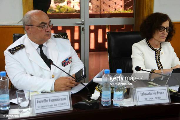 Head of the Minister of Defence's military cabinet squadron viceadmiral Jean Casabianca and French ambassador to Mali Evelyne Decorps attend a...