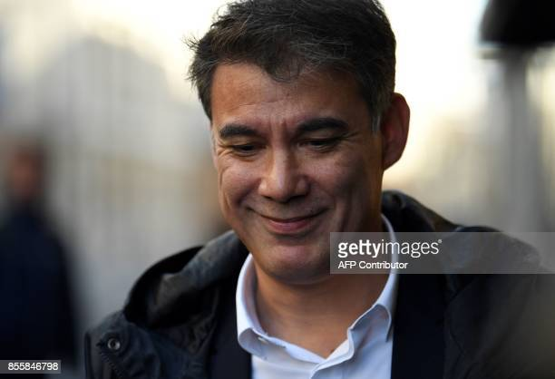 Head of the New Left group Olivier Faure arrive at the national council of the French Socialist Party to elect the party's new leadership at the...