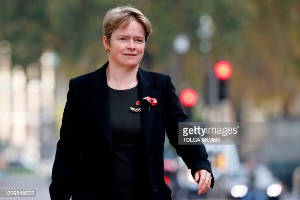 Head of the NHS Test and Trace, Dido Harding is seen walking in Westminster in central London on November 9, 2020. - Harding is a Conservative Party...