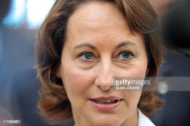 Head of the PoitouCharentes regional council and candidate for the 2011 socialist party primary election Segolene Royal speaks to the press as she...