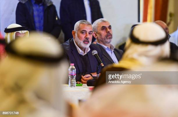 Head of the Political Bureau of Hamas Ismail Haniyeh and Leader of Hamas in the Gaza Strip Yahya Sinwar gather with mukhtars in Gaza to discuss...
