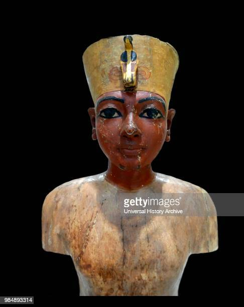 Head of the portrait bust of Tutankhamen perhaps a mannequin for the King's clothes or jewellery found in the tomb of king Tutankhamen of Egypt 1323...