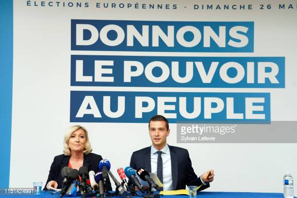 Head of the Rassemblement National farright party Marine Le Pen and RN party's front runner for the upcoming European elections Jordan Bardella give...