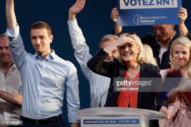 Head of the Rassemblement National farright party Marine Le Pen and RN party's front runner for the upcoming European elections Jordan Bardella...