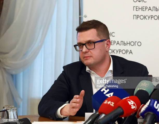 Head of the Security Service of Ukraine Ivan Bakanov is pictured during a joint briefing with Prosecutor General of Ukraine Iryna Venediktova held to...