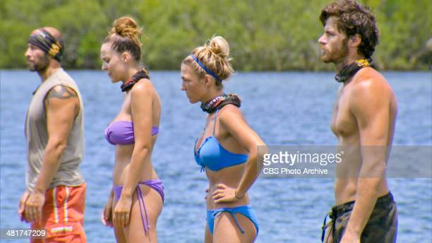 Head of the Snake Tony Vlachos Morgan McLeod Jefra Bland and Jeremiah Wood compete for Individual Immunity during the sixth episode of SURVIVOR...