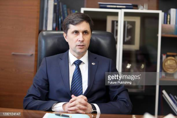 Head of the State Space Agency of Ukraine Volodymyr Taftay is pictured during an interview given to a correspondent of the Ukrinform National News...