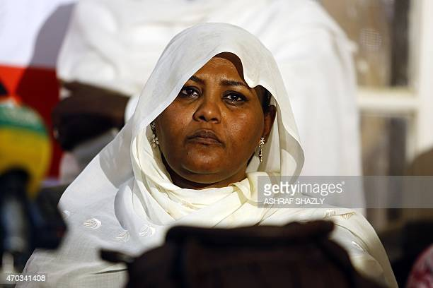 Head of the Sudanese opposition Umma Party Mariam alMahi looks on during a press conference held by the Sudan Call opposition alliance in the...