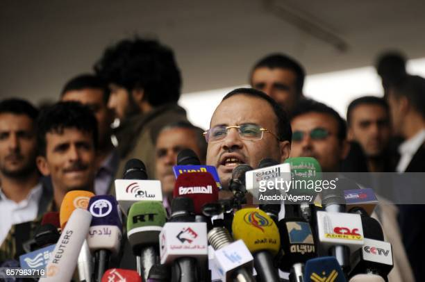 Head of the Supreme Political Council Saleh Ali alSammad delivers a speech as Houthis and supporters of ousted leader Ali Abdullah Saleh gather to...