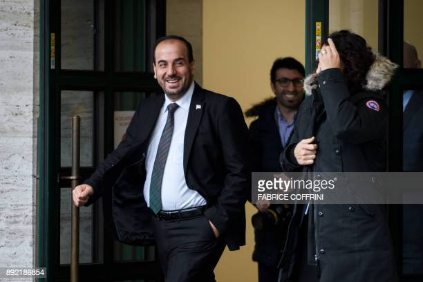 Head of the Syrian Negotiation Commission Nasr alHariri leaves the United Nations Offices in Geneva during Intra Syria peace talks on December 14...