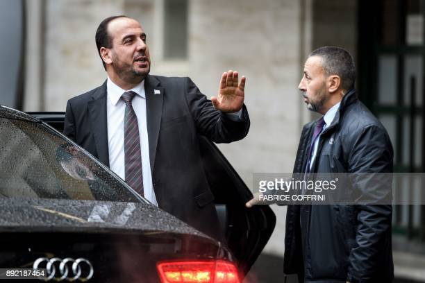 Head of the Syrian Negotiation Commission Nasr alHariri leaves the United Nations Offices in Geneva during the Intra Syria peace talks on December 14...