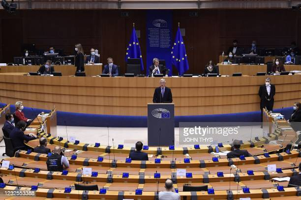 Head of the Task Force for Relations with the UK, Michel Barnier delivers a speech during the debate on EU-UK trade and cooperation agreement during...