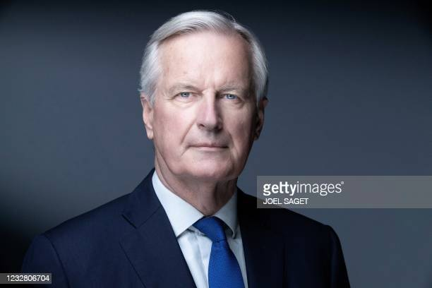 Head of the Task Force for Relations with the UK, Michel Barnier poses during a photo session on May 11 , 2021 in Paris;