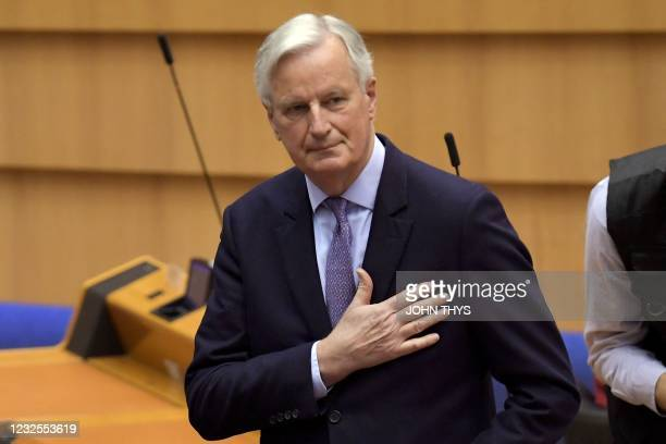 Head of the Task Force for Relations with the UK, Michel Barnier gestures during the debate on EU-UK trade and cooperation agreement during the...