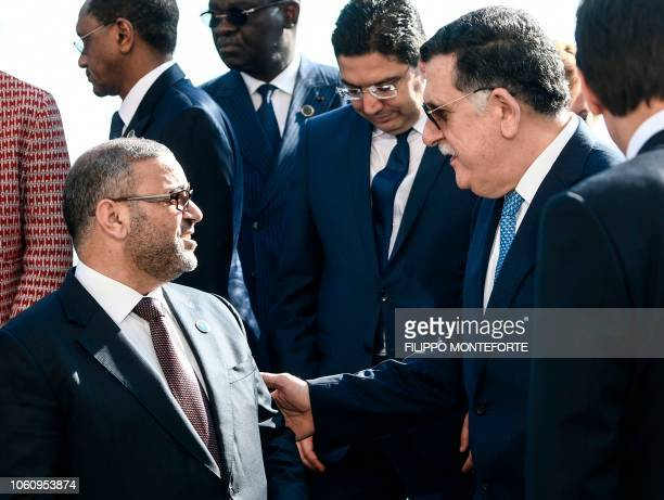 Head of the UN-backed unity government in Tripoli, Prime Minister Fayez al-Sarraj talks with President of the High Council of State of Libya Khaled...