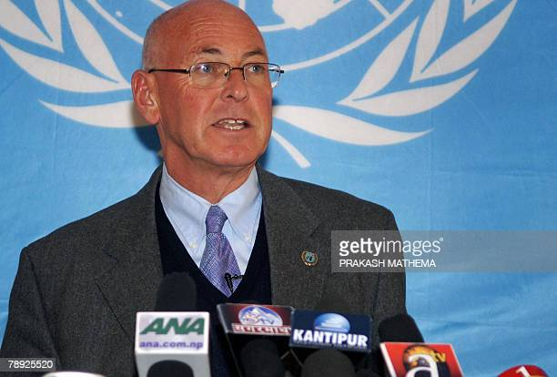 Head of the United Nations peace mission in Nepal Ian Martin addresses a press conference in Kathmandu 14 January 2008 Ethnic unrest in southern...