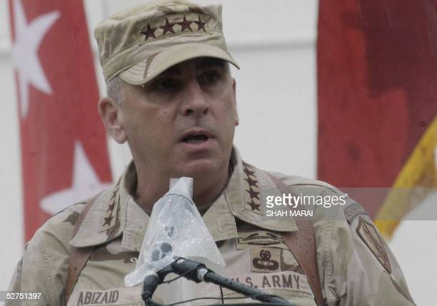 Head of the US Central Command US General John Abizaid delivers a speech during a handover ceremony in Kabul 03 May 2005 Outgoing Commander of the US...