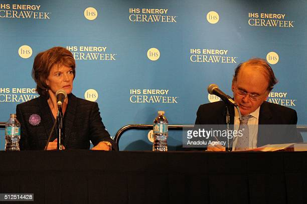 Head of the US Senate Energy Committee and Alaska Senator Lisa Murkowski and IHS Vice Chairman Daniel Yergin attend a press conference at the IHS...