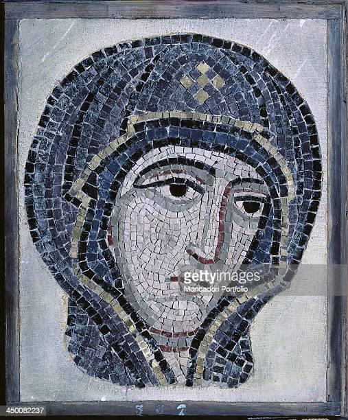 Head of the Virgin 19th Century polychrome mosaic