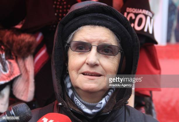 Head of the Women of Srebrenica organization Hajra Catic speaks to media as Srebrenica massacre victims' relatives stage a protest against moving the...