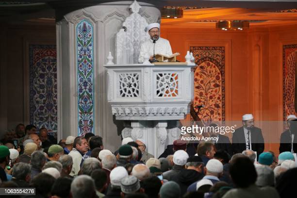 Head of Turkeys Religious Affairs Directorate Ali Erbas preaches a sermon at Ulu Mosque during a religious ceremony within the celebrations for...