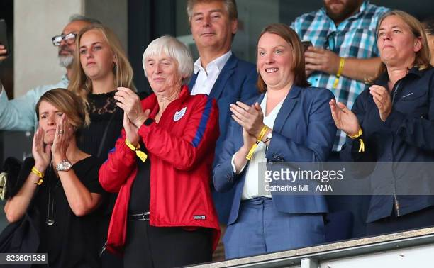 Head of Women's football Baroness Sue Campbell and Tracey Crouch Minister for sport during the UEFA Women's Euro 2017 match between Portugal and...