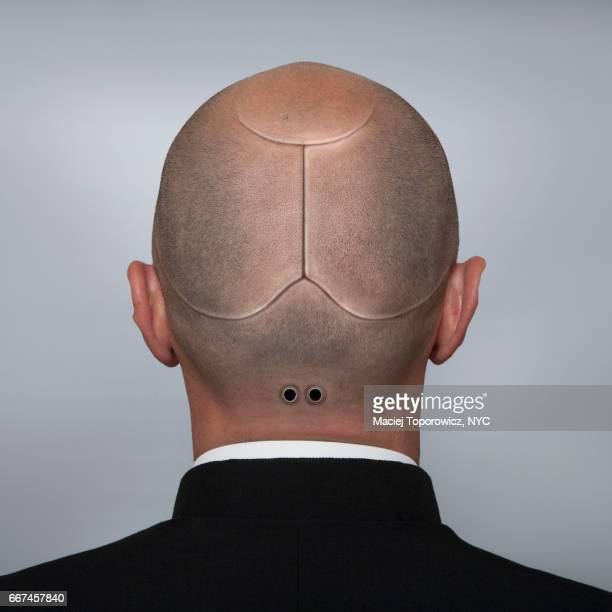 head portrait of a man looking like a cyborg. - science fiction film stock pictures, royalty-free photos & images