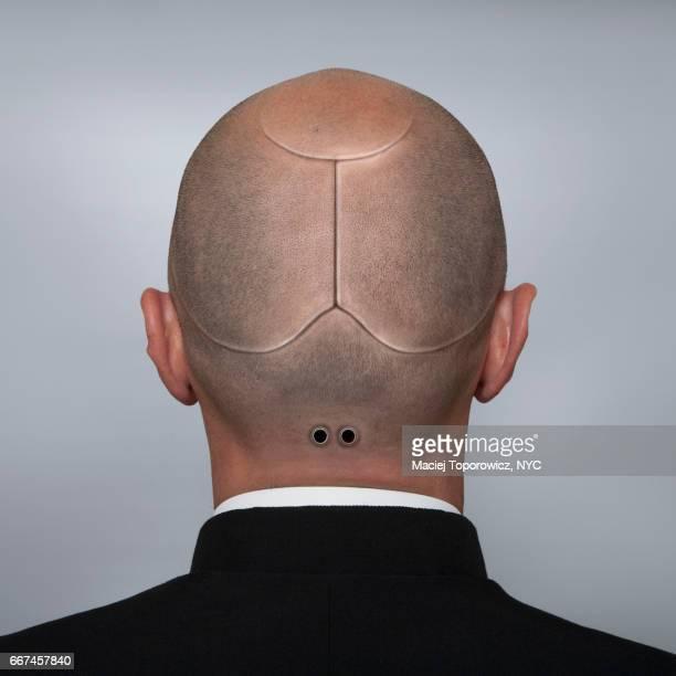 Head portrait of a man looking like a cyborg.