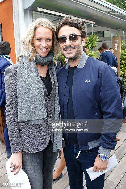 Head Public Relations investment products of Lacoste Johanne Gilbert and Producer Benoit Ponsaille attend the 2016 French Tennis Open Day Three at...