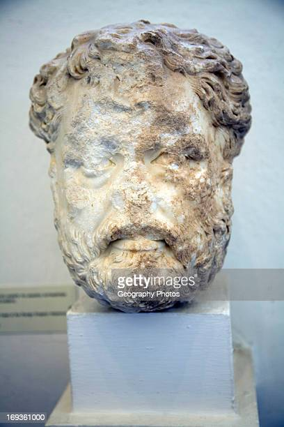 Head Roman emperor Antoninus Archaeological museum Rhodes Greece
