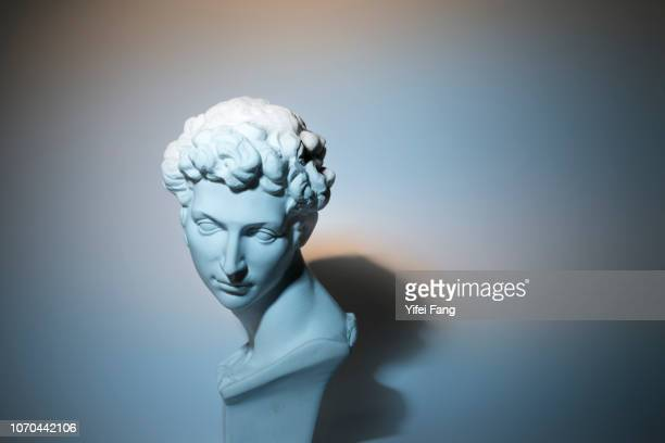 head sculpture in front of colorful background - classical greek style stock pictures, royalty-free photos & images