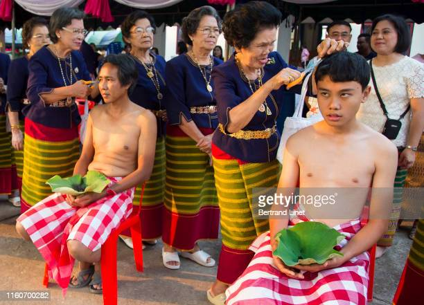 head shaving ceremony in thailand - religious event stock pictures, royalty-free photos & images