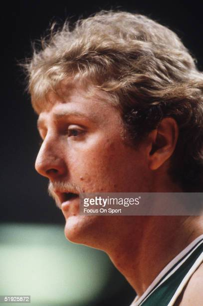 Head shot of Boston Celtics' Larry Bird circa 1970's on the court during a game.