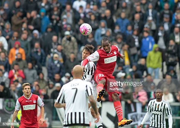 Head shot of Jerry Mbakogu during the Serie A match betweenJuventus FC and Carpi FC at Juventus Stafium on may 1 2016 in Torino Italy