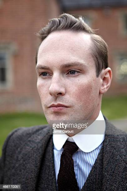 head shot of man in three-piece suit outside home. - receding hairline stock pictures, royalty-free photos & images