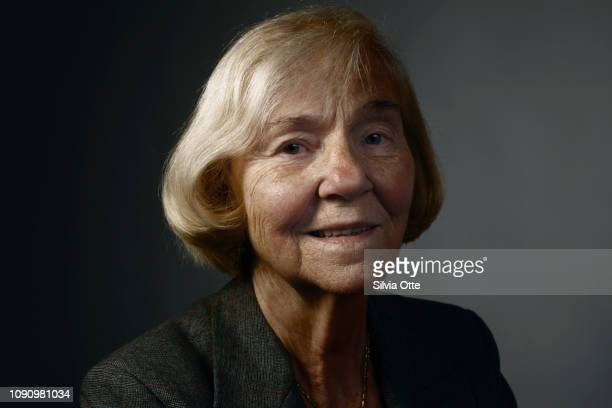 Head shot of mature blonde woman