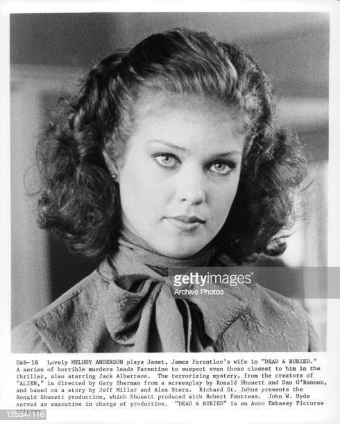 Head shot of Melody Anderson in a scene from the film 'Dead And Buried' 1981