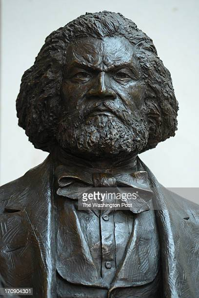 Head shot of the Frederick Douglass statue now permanently placed in the US Capitol's Emancipation Hall in Washington DC on June 19 2013 The statue...