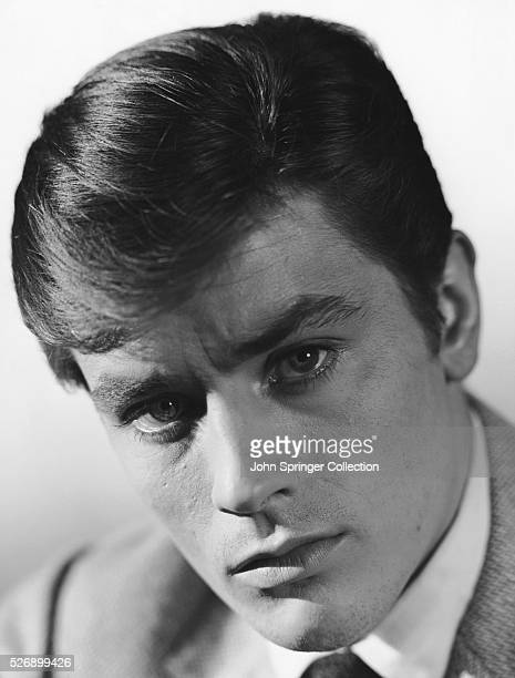 Head shot portrait of French actor Alain Delon. Undated Photograph.