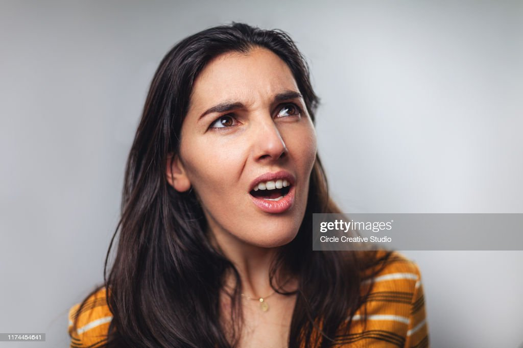 WTF! Head shot portrait of shocked frustrated woman : Stock Photo