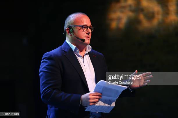 Head Sponsor Tom Corbett of Barclays chats to the audience during Sport Industry NextGen 2018 at Village Underground on February 1 2018 in London...