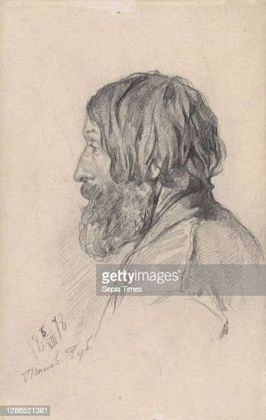 Head study of a Peasant from Tambov Governorate Graphite, Sheet: 7 1/16 × 4 1/2 in. , Drawings, Ilia Efimovich Repin .