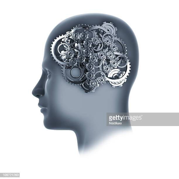 Head with cogs and gears on white