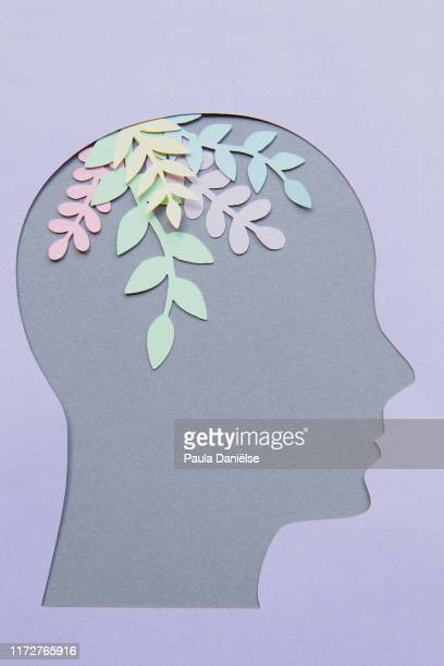 head with paper flowers - mental wellbeing stock pictures, royalty-free photos & images