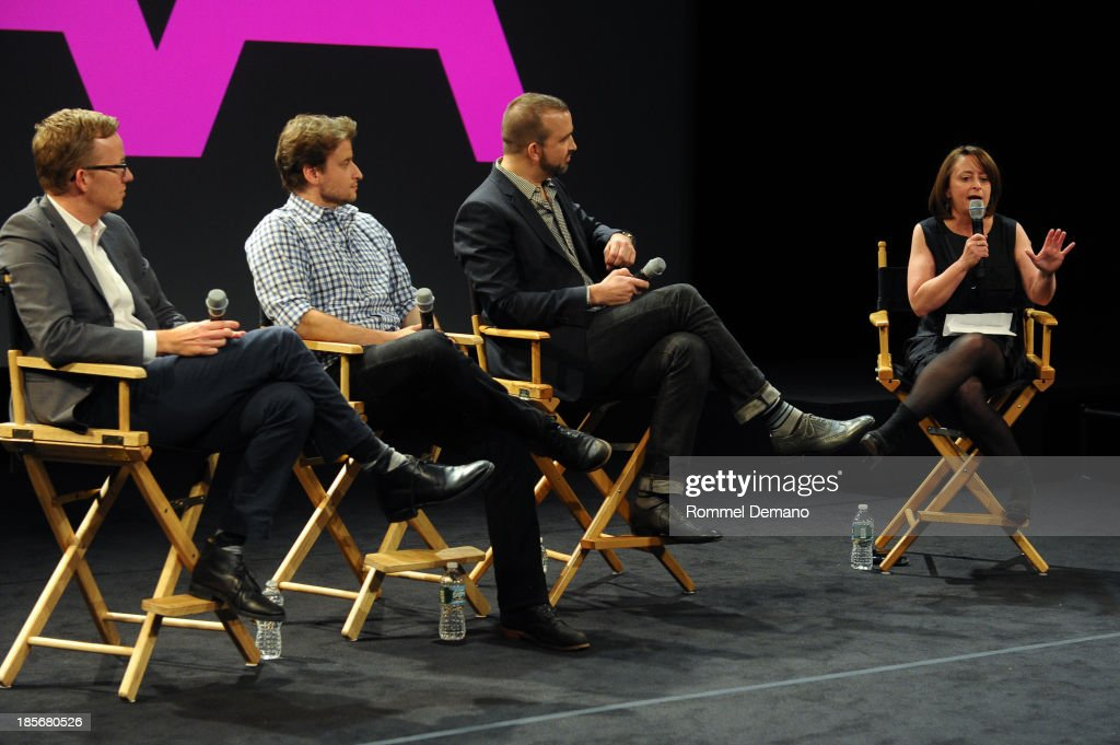 Head writer of 'Late Night with Jimmy Fallon', A.D.Miles and Co-EP of 'Colbert Report', Barry Julien, Head Writer, Late Night with David Letterman, Matt Roberts and actress Rachel Dratch attend the 9th Annual New York Television Festival - Long Day's Journey Into Late Night: The Politics Of Funny at SVA Theater on October 23, 2013 in New York City.