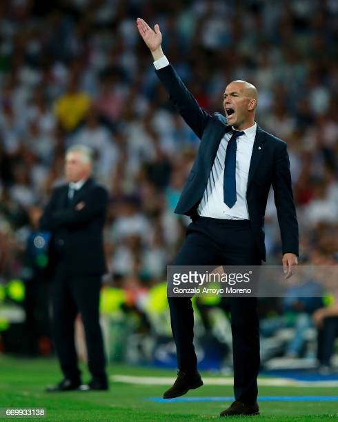 Head Zinedine Zidane of Real Madrid CF protests during the UEFA Champions League Quarter Final second leg match between Real Madrid CF and FC Bayern...