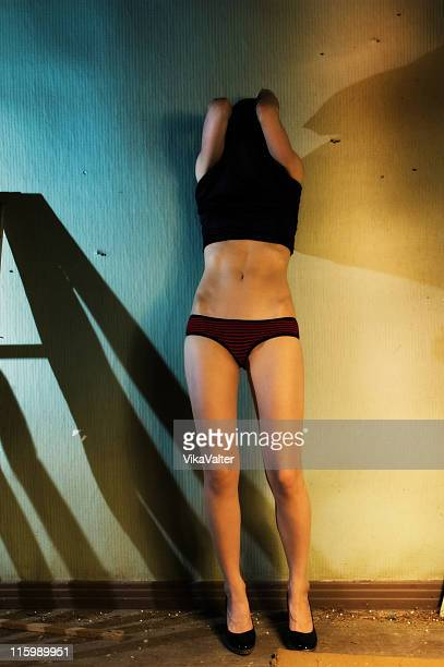 headache - hands in her pants stock photos and pictures