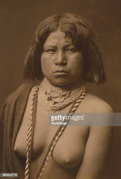 Headandshoulders portrait of a Mohave woman facing front